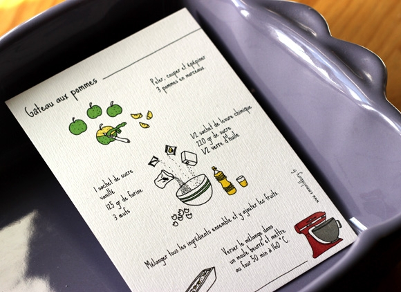 Recette de cuisine Gateau aux pommes illustré par Emma Lidbury, illustration