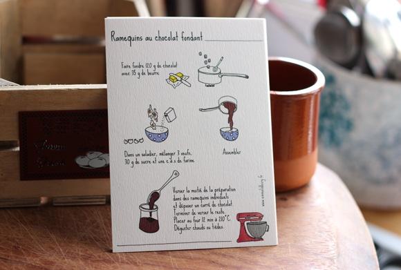 Recette de cuisine Ramequins au chocolat illustré par Emma Lidbury, illustration