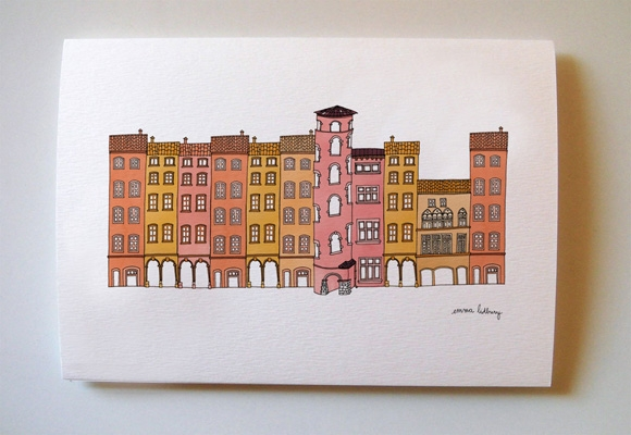 carte illustration du vieux Lyon, Illustration Emma Lidbury