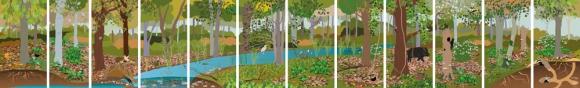 fresque pour une baie vitrée au parc miribel jonage sur la foret alluviale
