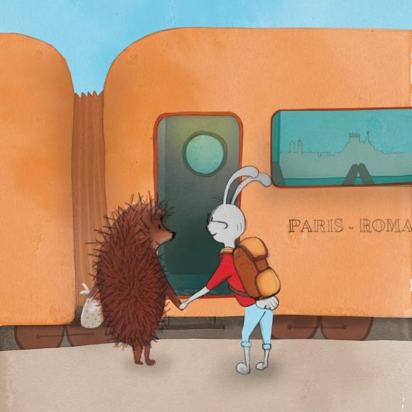 Faire-part de mariage herisson et lapin, illustration Lyon