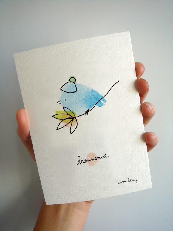 Carte postale illustrée bienvenue oiseau lidbury