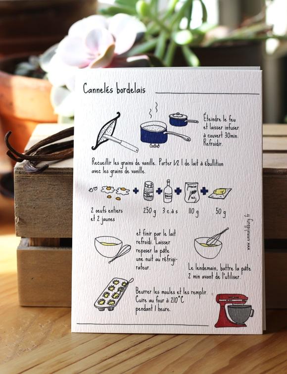 Recette de cuisine de cannelé illustré par Emma Lidbury, illustration