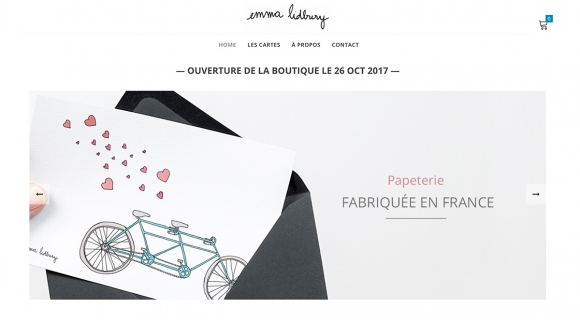 Page d'accueil de la boutique en ligne de l'auteure Emma Lidbury - carte postales